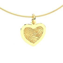 14krt geelgouden vingerafdruk hart hanger.