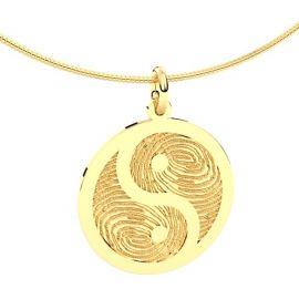 14krt witgouden yin yang vingerafdruk hanger.