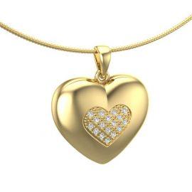 extra large hart ashanger met diamanten met twee kleueren goud