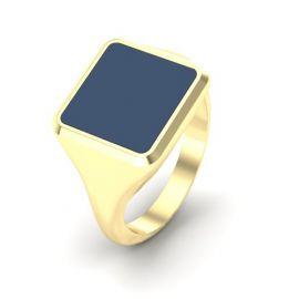 Goud of zilver blauwe lagensteen/hars vierkante zegelring met as compartiment.