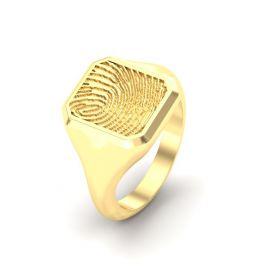 Goude n of zilveren rechthoekige zegel vingerafdruk ring.