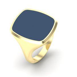 Rechthoekige stomphoek 14krt geelgouden as zegelring met blauwe lagensteen en compartiment.