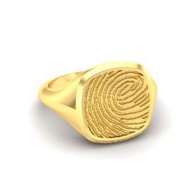 Goud of zilver vierkante stomphoek zegelring met vingerafdruk.