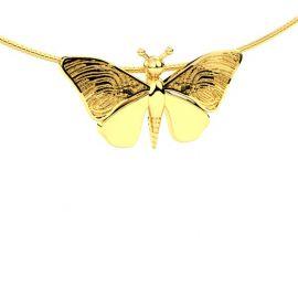 Vlinder vinger afdruk hanger in geelgoud