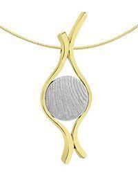 Hart vingerafdruk hanger in wit goud.