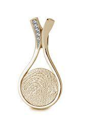 Hart vingerafdruk hanger in geel  goud met diamanten.