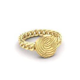 Fantasie ring met ronde vingerafdruk.