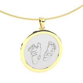 Baby voetafdruk hanger in twee kleuren goud - www.silentmemories.com