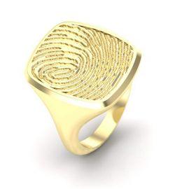 Goud of zilver rechthoekige stomphoek zegelring met vingerafdruk.